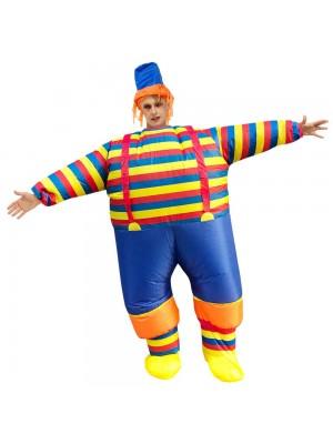 Clown mit Gestreift Kleider Aufblasbar Kostüm Halloween Weihnachten Overall zum Erwachsene
