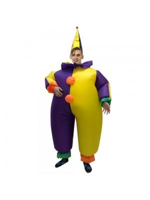 Clown im Lila und Gelb Aufblasbar Kostüm Halloween Weihnachten Overall zum Erwachsene