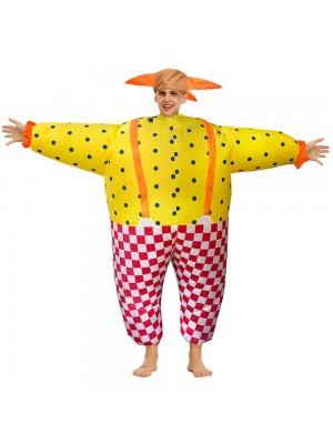 Clown Aufblasbar Kostüm Halloween Weihnachten Overall zum Erwachsene Party Zeit