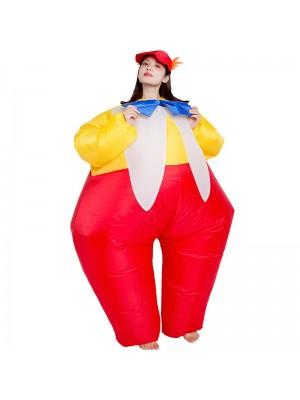 Clown mit Krawatte Aufblasbar Kostüm Halloween Weihnachten Overall zum Erwachsene