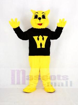 Gelb Wilde Katze im Schwarz Maskottchen Kostüm Karikatur