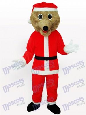 Grauer Bär in Santa Outfit Maskottchen Kostüm für Erwachsene