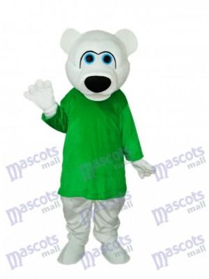 Grünes Hemd Weißes Bären Maskottchen Erwachsene Kostüm Tier