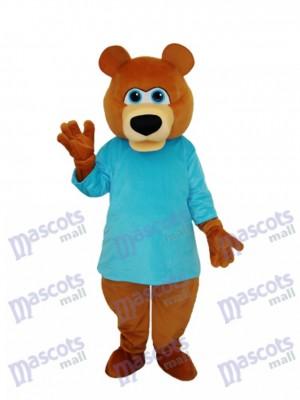 Mr.Bear im blauen T-Shirt Maskottchen erwachsenes Kostüm Tier