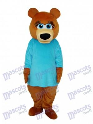 Ms.Bear im blauen T-Shirt Maskottchen-erwachsenes Kostüm-Tier