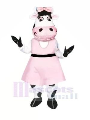 Wunderschönen Kuh mit Rosa Kleid Maskottchen Kostüme Tier