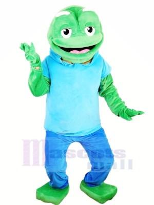 Groß Grün Frosch mit Blau T-Shirt Maskottchen Kostüme Tier