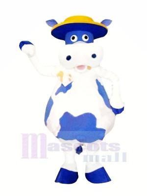 Süß Blau und Weiß Kuh Maskottchen Kostüme Tier