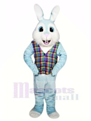 Blau Ostern Hase mit Bunt Weste Maskottchen Kostüme Tier