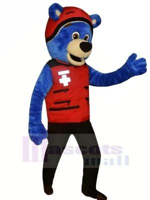Blau Bär mit rot Hut Maskottchen Kostüme Tier