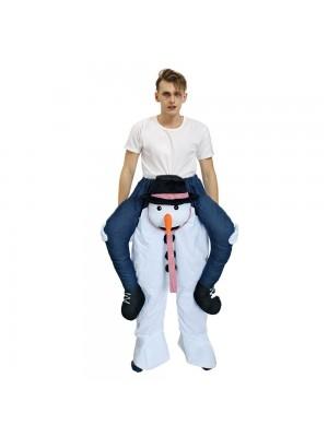 Niedlich Schneemann Tragen mich Reiten auf Halloween Weihnachten Kostüm zum Erwachsener/Kind