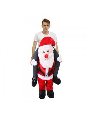 Lächelnd Santa Claus Tragen mich Reiten auf Halloween Weihnachten Kostüm zum Erwachsener/Kind