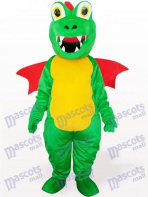 Grüner Dinosaurier mit Red Wing Maskottchen Kostüm für Erwachsene