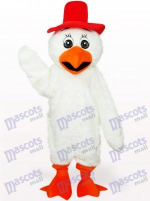 Weißes langes Haar Cowboy Huhn Geflügel erwachsenes Maskottchen Kostüm
