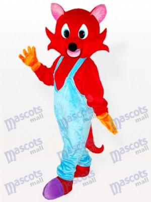 Roter Fuchs im blauen Latzhose Adult Maskottchen Kostüm