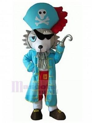 Grau-weißes Wolf-Hundemaskottchen-Kostüm mit blauem Piraten-Kleidungstier