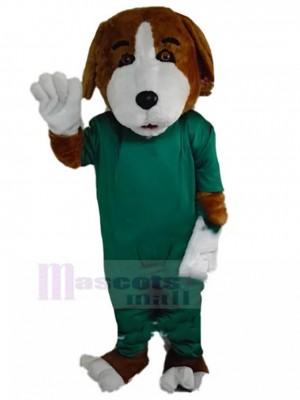Braun-weißes Beagle-Hundemaskottchen-Kostüm mit OP-Kleid Tier