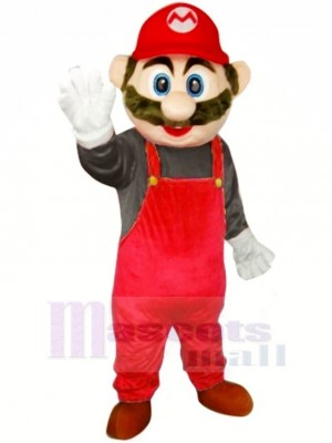 Super Mario mit rot Overall Maskottchen Kostüm Karikatur