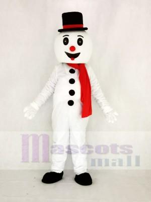 Süß Schnee Mann mit Hut Maskottchen Kostüm Karikatur