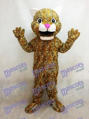 Gelbes Springen Leopard Tier Maskottchen Kostüm mit einer rosa Nase
