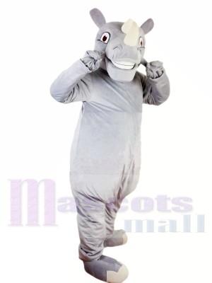 glücklich Nashorn Nashorn Maskottchen Kostüm Verrücktes Kleid Brauch Cosplay Thema Mascotte