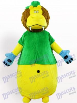 Gelber Löwe im grünen Kleidungs Tier Maskottchen Kostüm