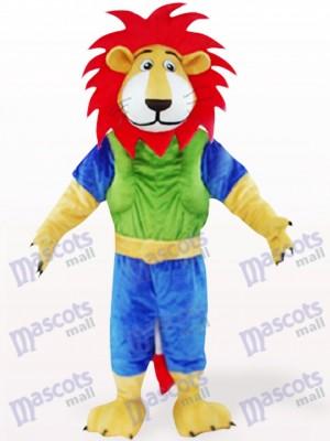 Grüner und blauer Löwe mit rotem Haar Tiermaskottchen Kostüm