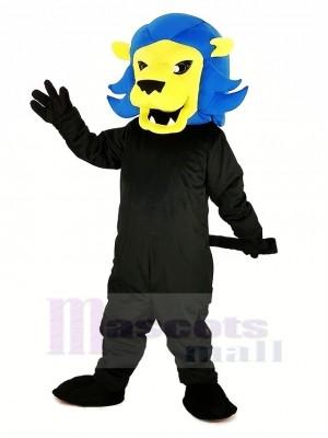 Heftig Blau Löwe Maskottchen Kostüm Karikatur