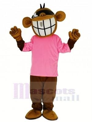 Cool Lustig Affe mit Rosa T-Shirt Maskottchen Kostüm Tier