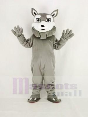 Leistung Grau Heiser Hund Maskottchen Kostüm Karikatur