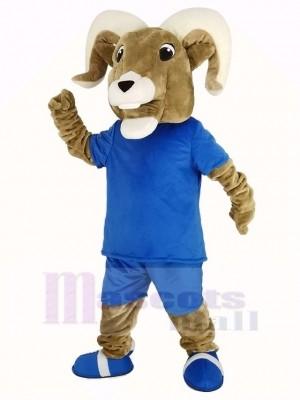 Sport RAM mit Blau T-Shirt Maskottchen Kostüm Erwachsene