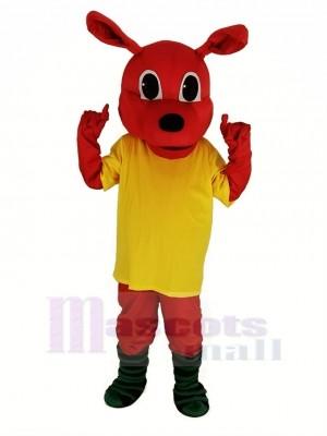 rot Känguru mit Gelb T-Shirt Maskottchen Kostüm Tier