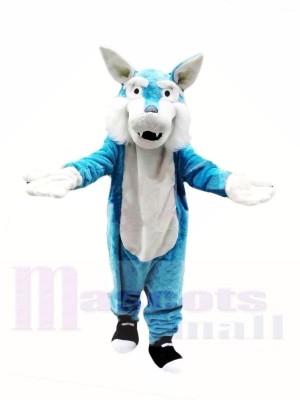 Billiger Blauer Wolf Maskottchen Kostüme