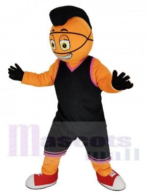 Leistung Basketball Mann im Schwarz Jersey Maskottchen Kostüm