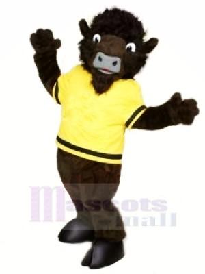 Wild Büffel mit Gelb T-Shirt Maskottchen Kostüme Karikatur