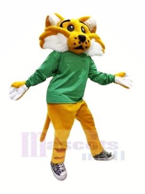 Braun Wilde Katze im Grün Maskottchen Kostüme Karikatur