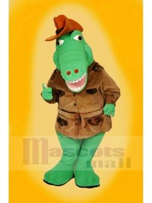 Cool Alligator mit Braun Hut Maskottchen Kostüme Karikatur