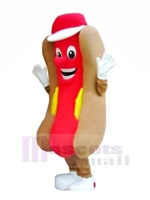Köstlich Schnell Essen Hotdog Maskottchen Kostüm Karikatur