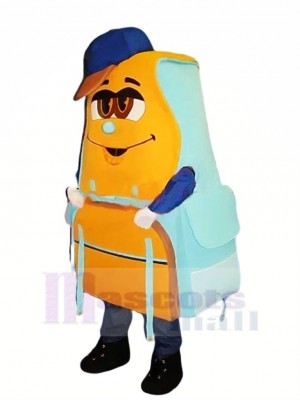 Blau und Orange Rucksack Maskottchen Kostüm Karikatur