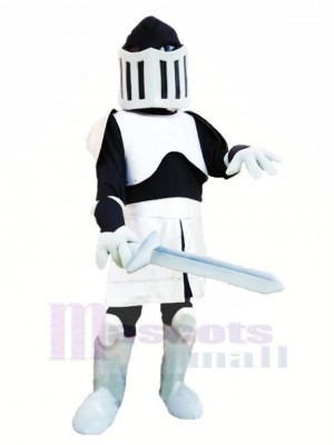 Cool Schwarz und Silber Ritter Maskottchen Kostüm Menschen