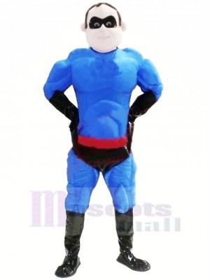 Cool Blau Übermensch Maskottchen Kostüm Menschen