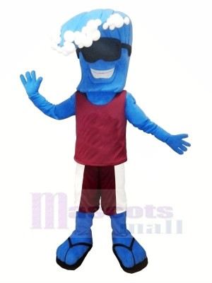 Komisch Blau Welle Maskottchen Kostüm Karikatur