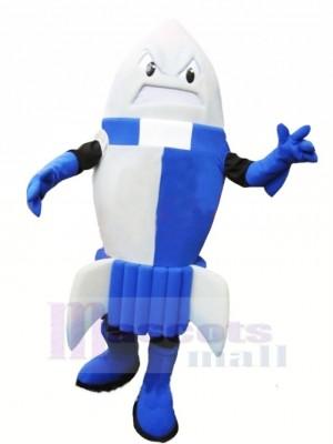Heftig Blau Rakete Maskottchen Kostüm Karikatur