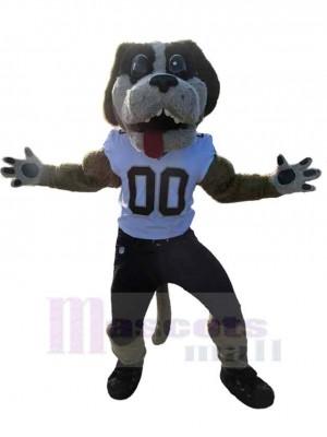 Kraftsport College-Hund Maskottchen Kostüm Tier in weißer Weste