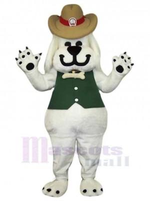 Lächelnder weißer Hund Maskottchen Kostüm Tier in Grüne Weste