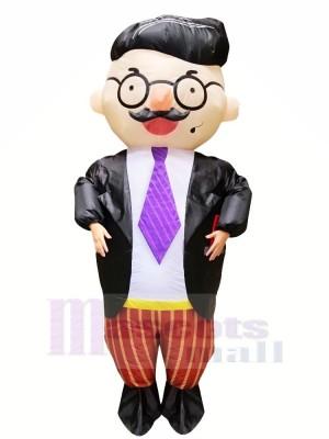 Gut aussehend Boss mit Brille Aufblasbar Maskottchen Kostüme Karikatur