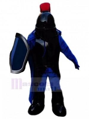Kürassier Ritter mit schwarzem Rüstungs Maskottchen Kostüm Menschen
