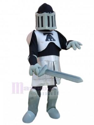 Silber und Schwarz Ritter mit Schwert Maskottchen Kostüm Menschen