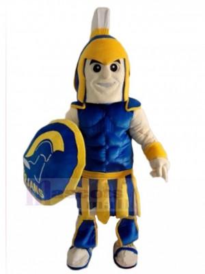 Blau und Gelb spartanisch Trojaner Ritter Maskottchen Kostüm Menschen