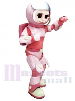 Astronaut Mädchen Maskottchen Kostüm im rosa Raumanzug Menschen